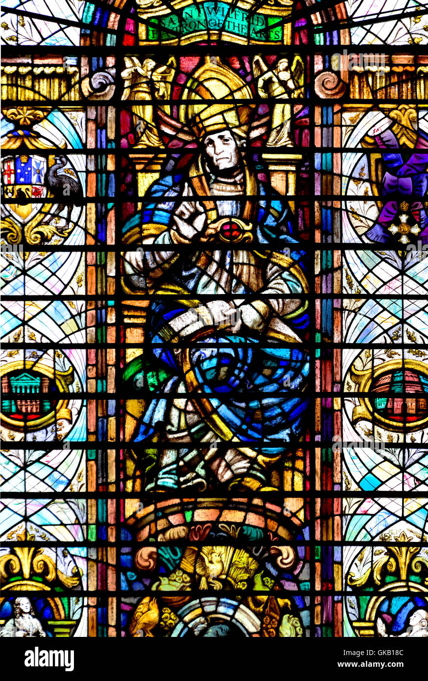 London England, UK. Church of the Holy Sepulchre / St Sepulchre Without Newgate. Stained Glass Window - St Wilfrid... - Stock Image