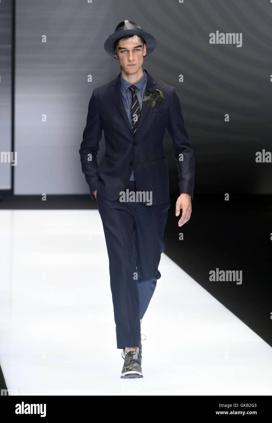 Milan Fashion Week Men s Spring Summer 2017 - Emporio Armani - Catwalk  Featuring  Model Where  Milan, Italy When  20 Jun 2016 Credit  IPA WENN.com    Only ... f7a1ff2088
