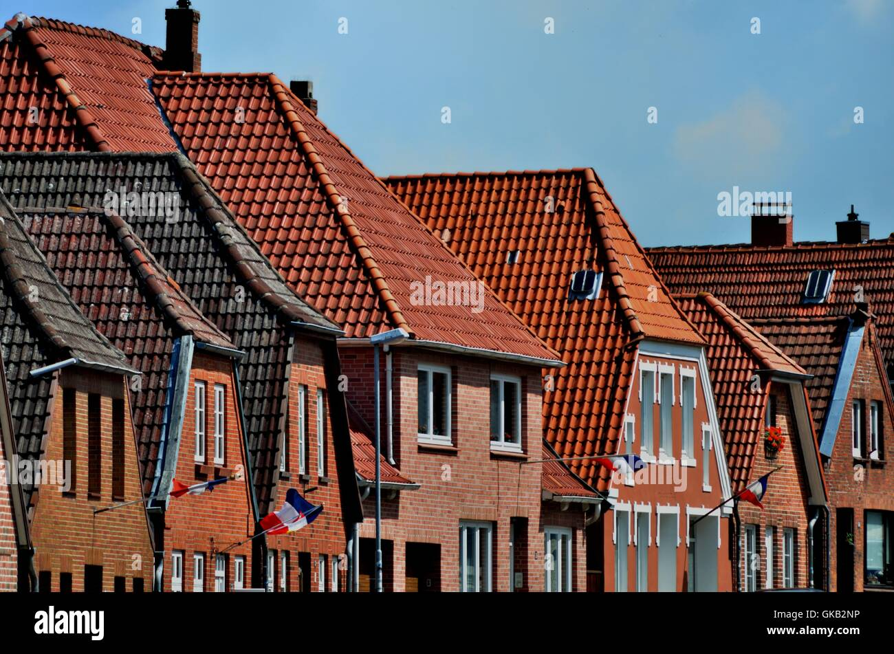 houses roofs Northern Germany - Stock Image