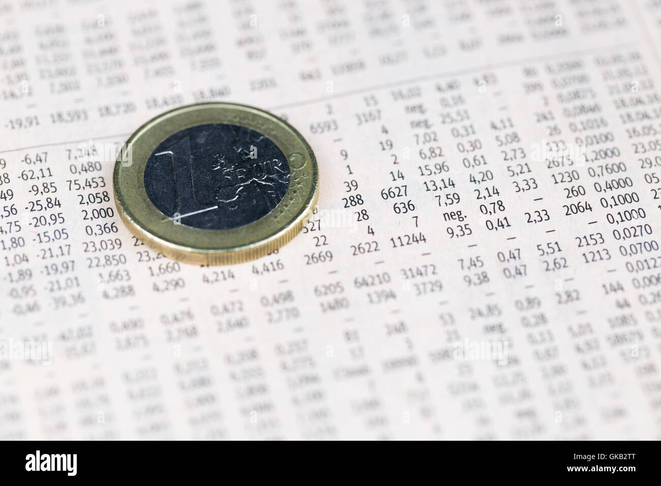 One euro coin over share prices, economy concept - Stock Image