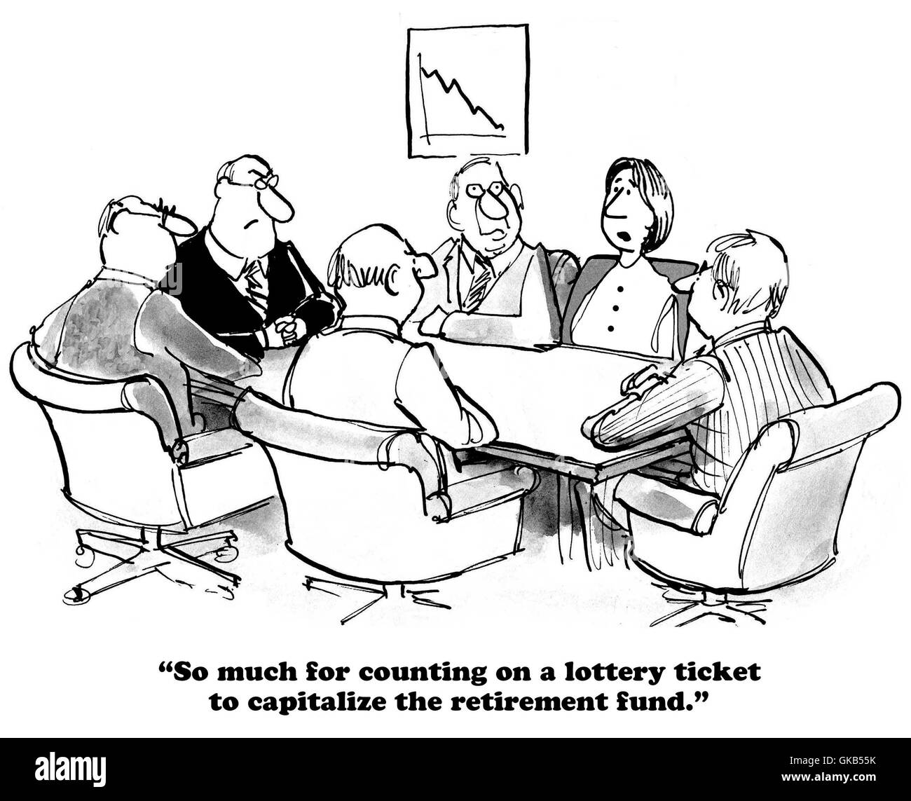 Business cartoon about an under capitalized retirement fund. - Stock Image