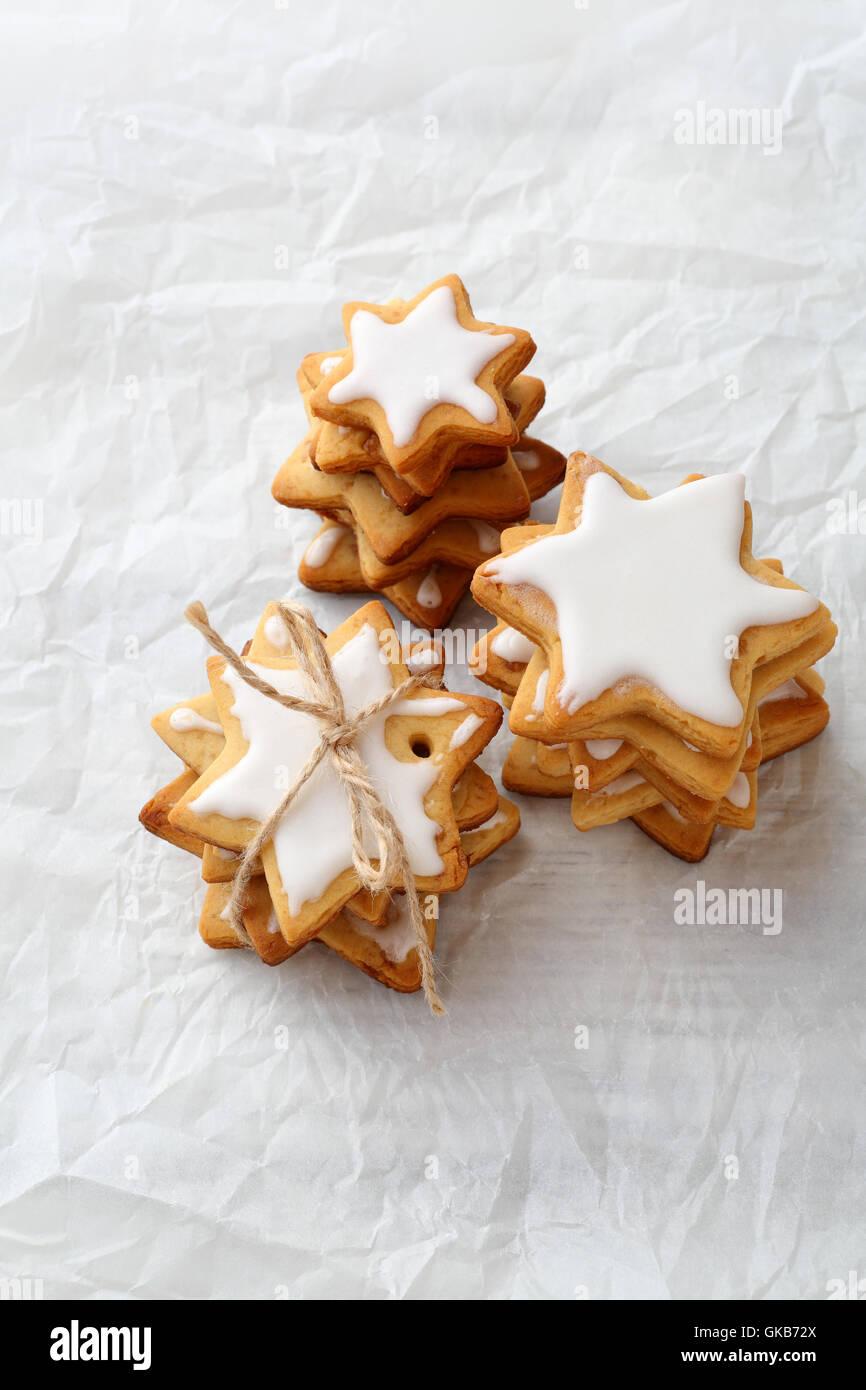 Christmas cookies stacks , holiday food - Stock Image