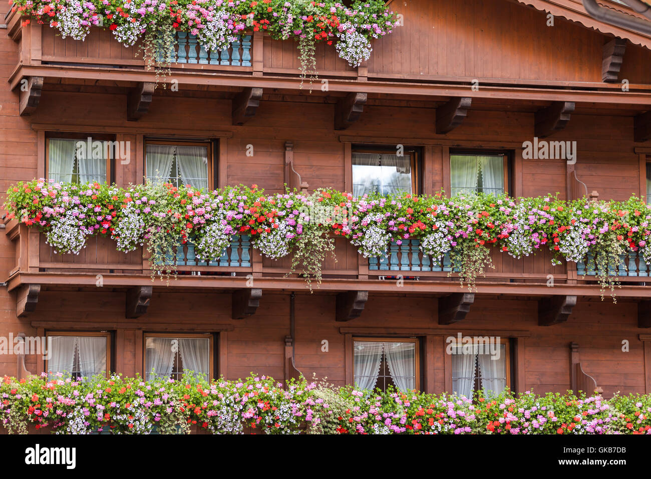 Traditional Austrian Houses With Flowers In Windows Tux Zillertal