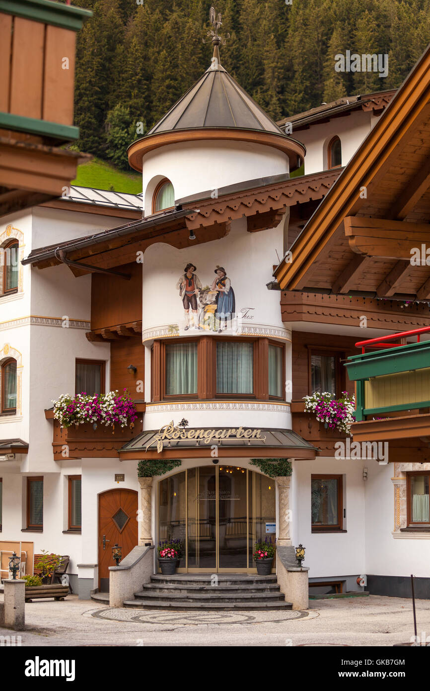 Traditional painted houses in Tux, Zillertal Austria - Stock Image