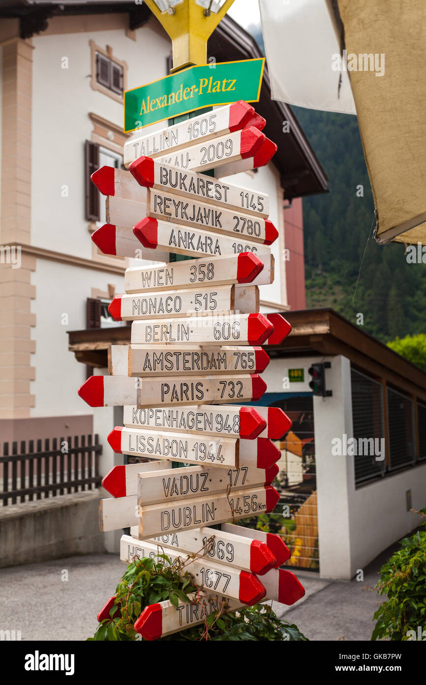 The indicator of distance from Mayrhofen to famous cities of world - Stock Image