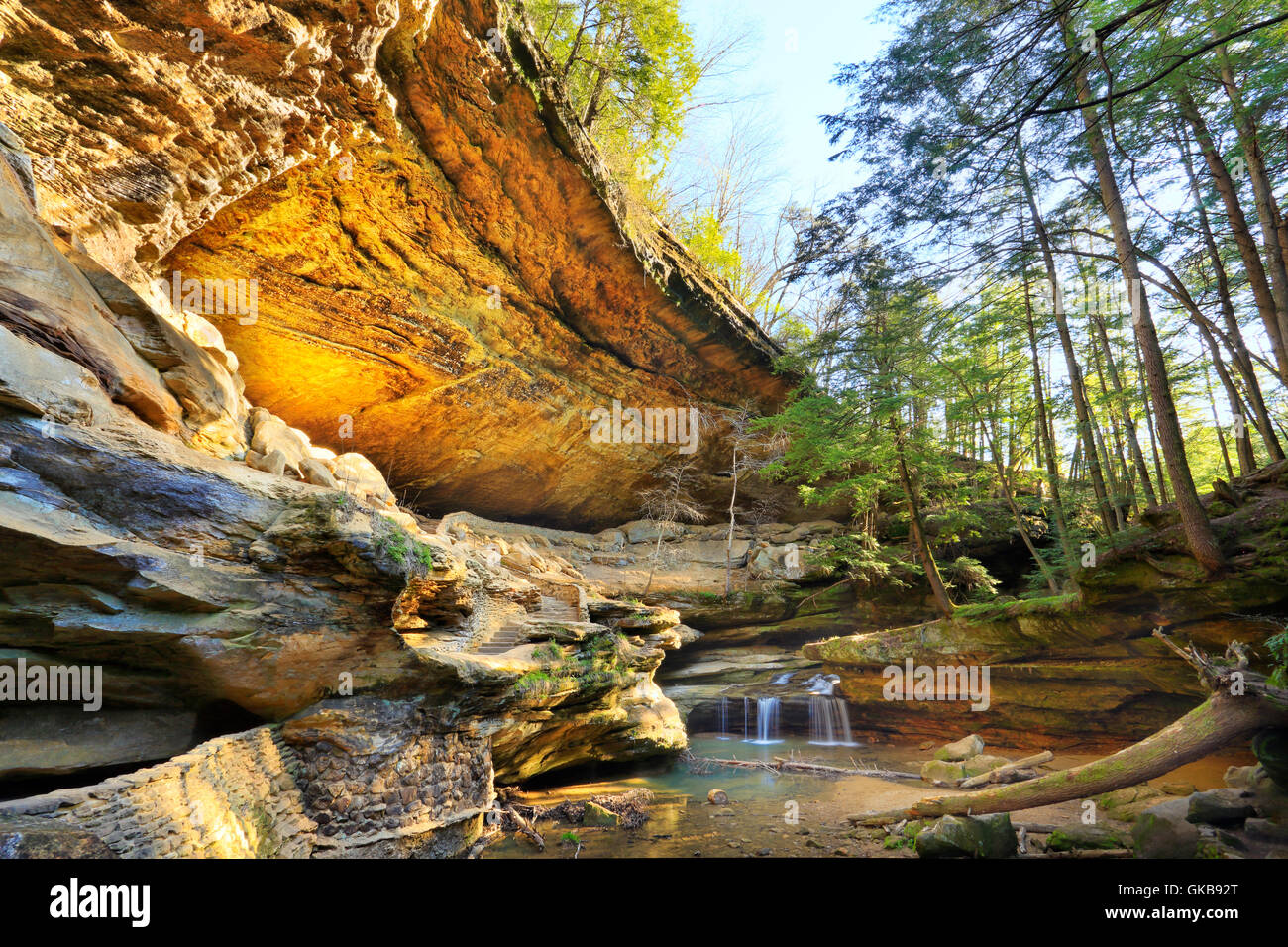 Cave, Old Mans Cave, Hocking Hills State Park, Logan, Ohio, USA - Stock Image