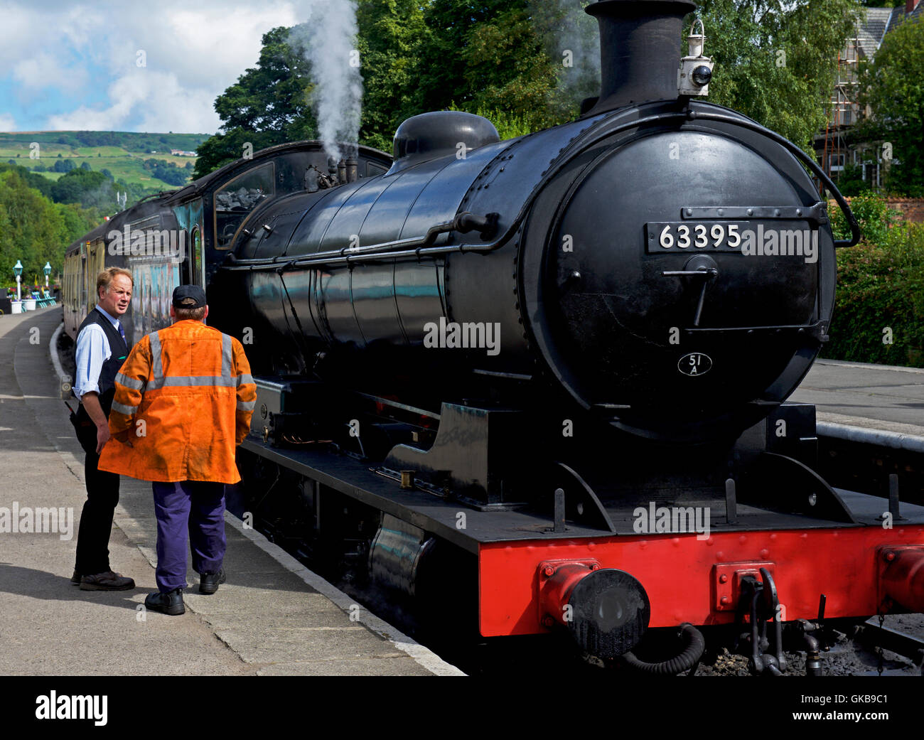 Steam engine at Grosmont station on the North York Moors Steam Railway, North Yorkshire, England UK - Stock Image