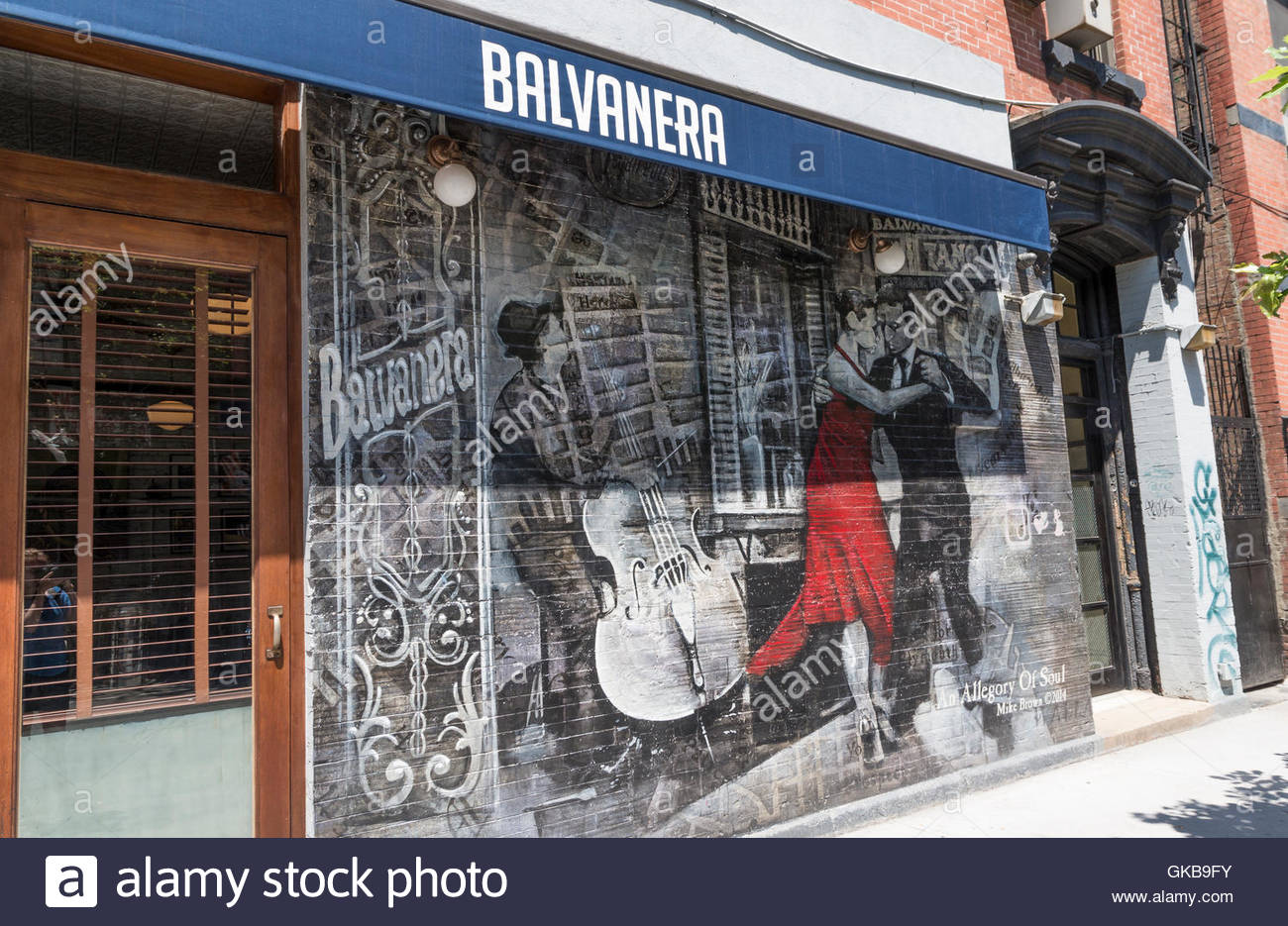 Entrance and wall of Balvanera restaurant in New York with street art graffiti mural showing & Restaurant Wall Art Stock Photos u0026 Restaurant Wall Art Stock Images ...