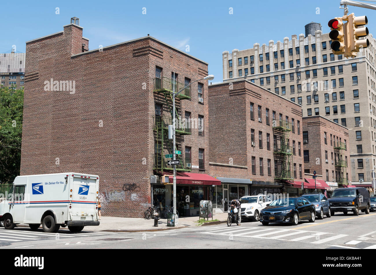 Landmarked First Houses on Avenue A , New York, were the first public housing project in the USA - Stock Image