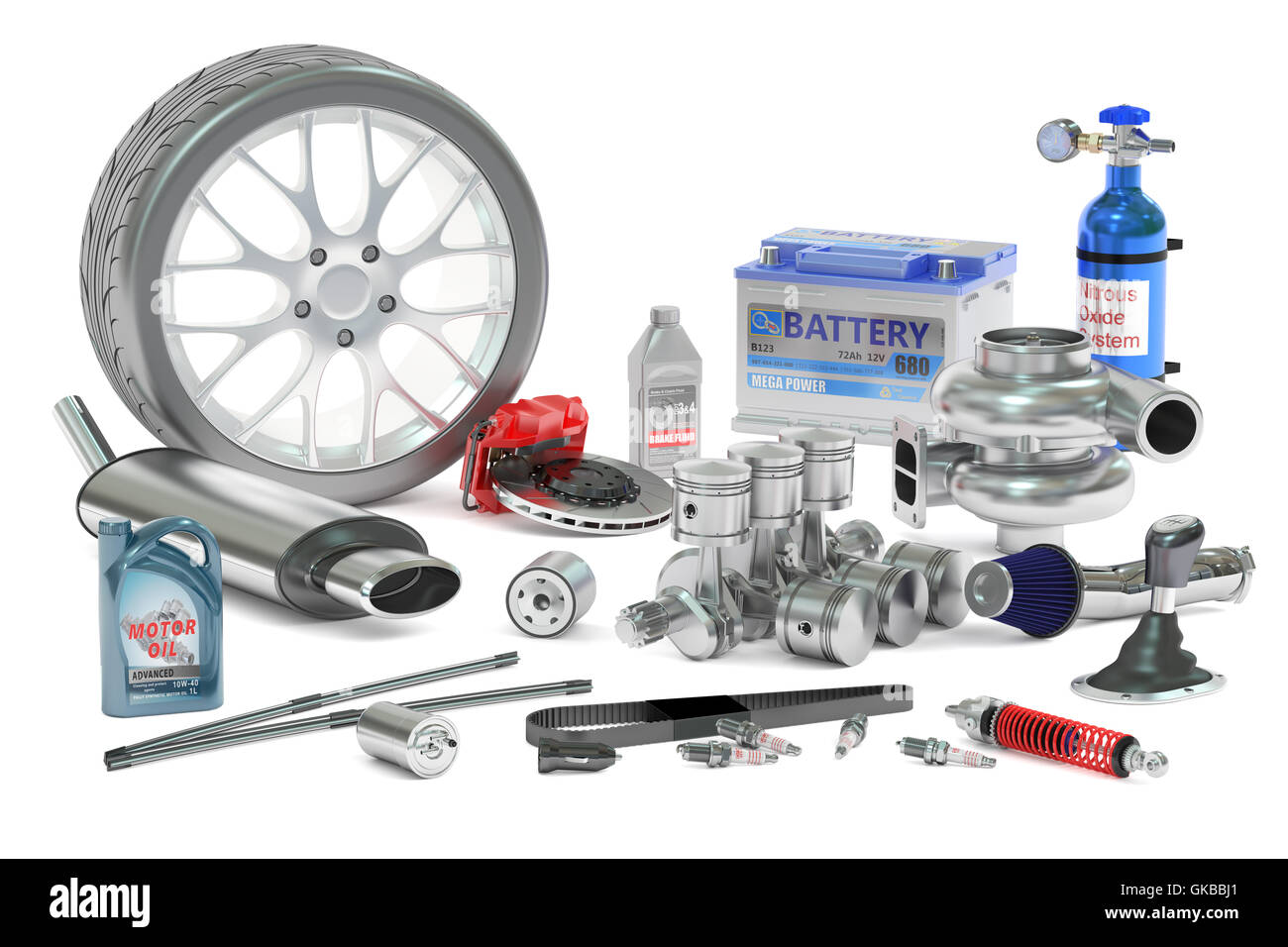 Car Parts, 3D rendering isolated on white background Stock Photo ...