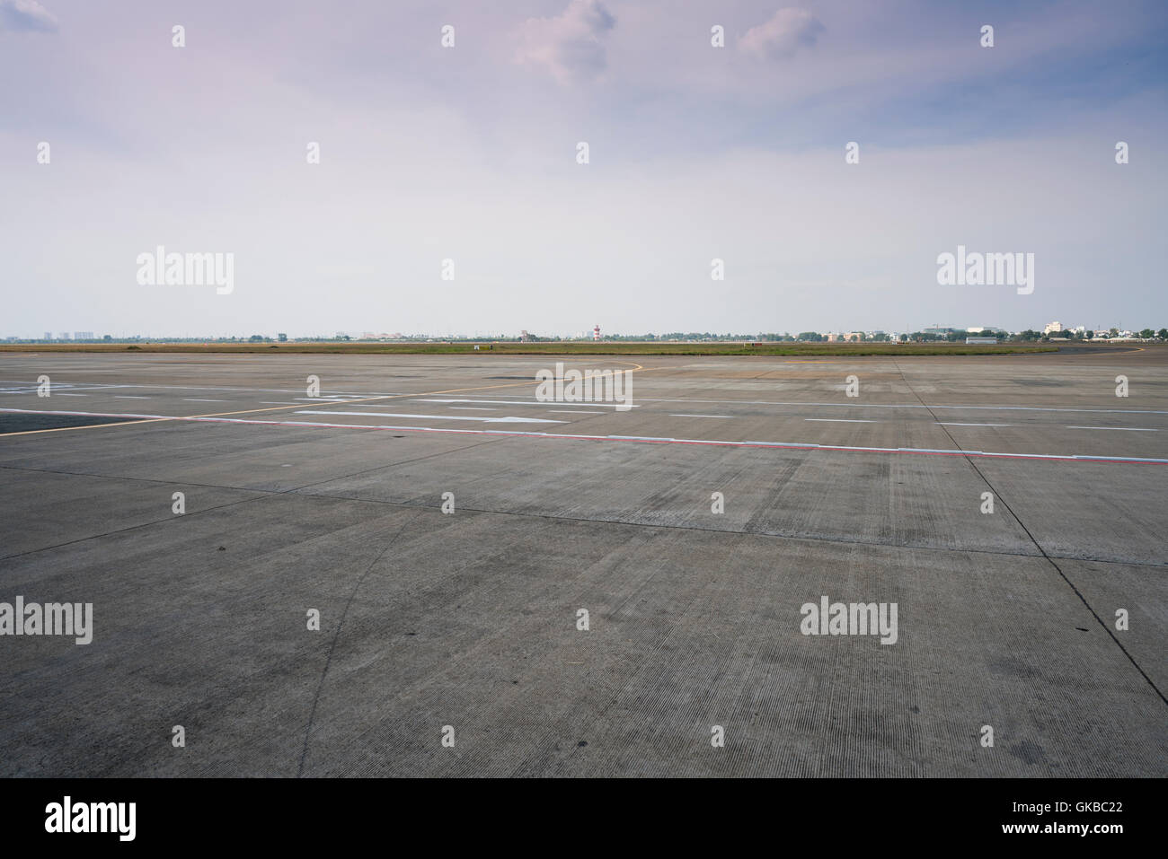 Beautiful views of the mountains in Italy Trieste airport window - Stock  Image