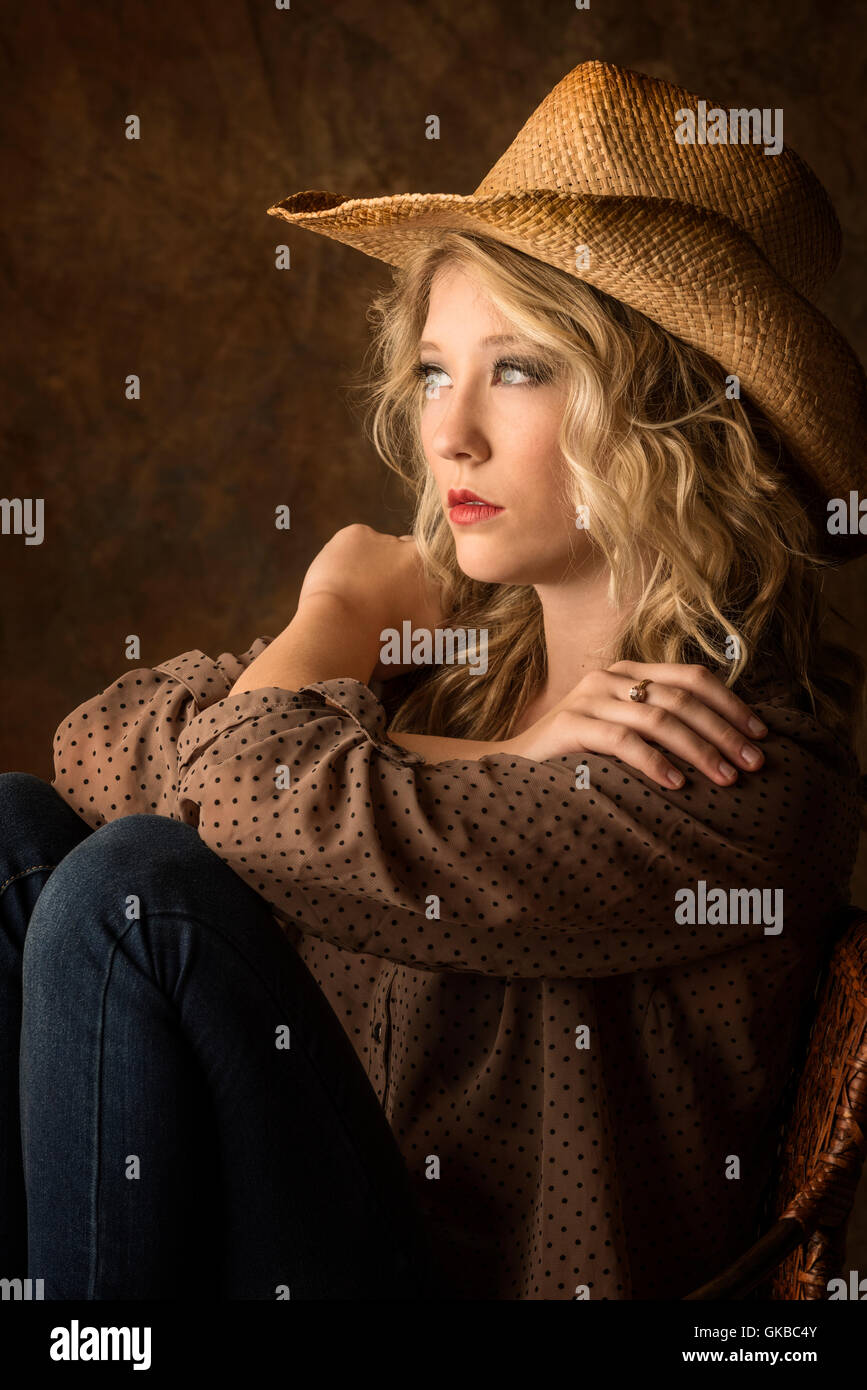 Blonde Cowgirl Stock Photos   Blonde Cowgirl Stock Images - Alamy c7ff7d20805a