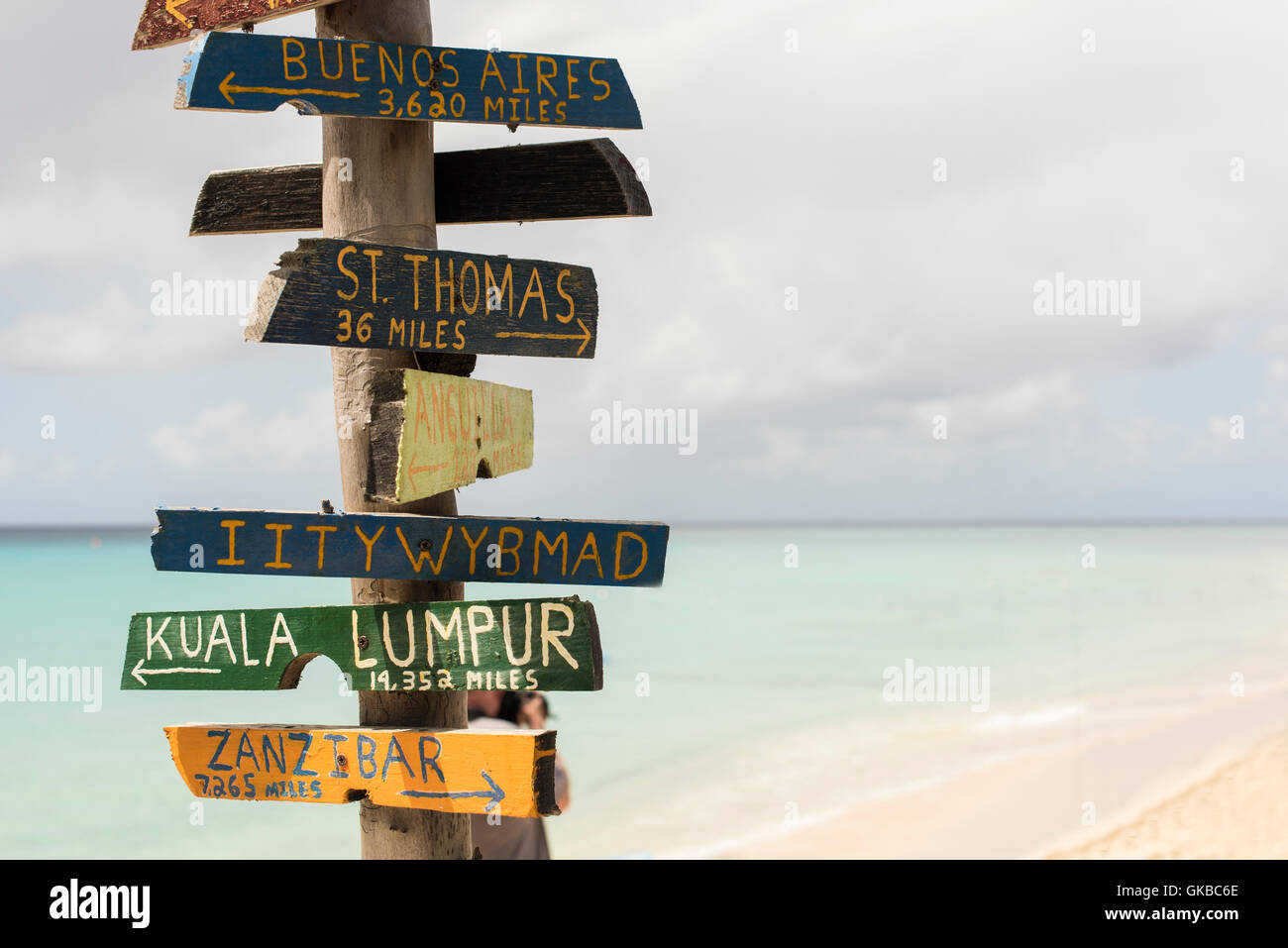 St Croix St Thomas USVI VI Zanzibar arrows distances signs - Stock Image