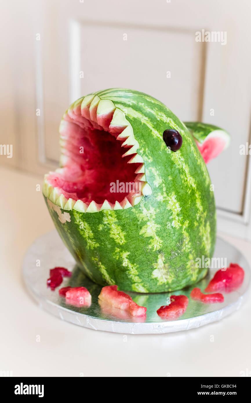 Watermelon shark snack - Stock Image
