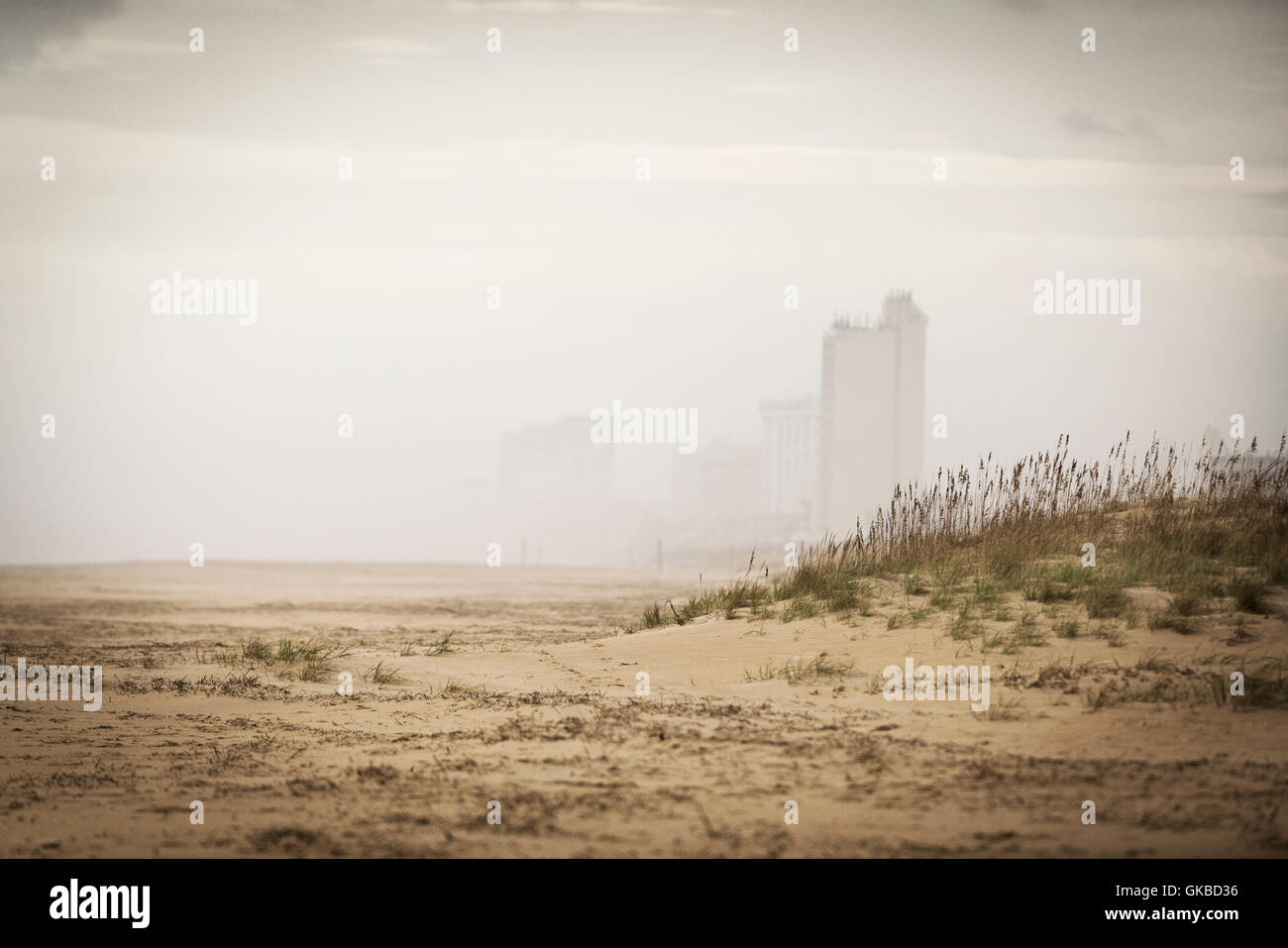 North end of Virginia Beach during a storm - Stock Image
