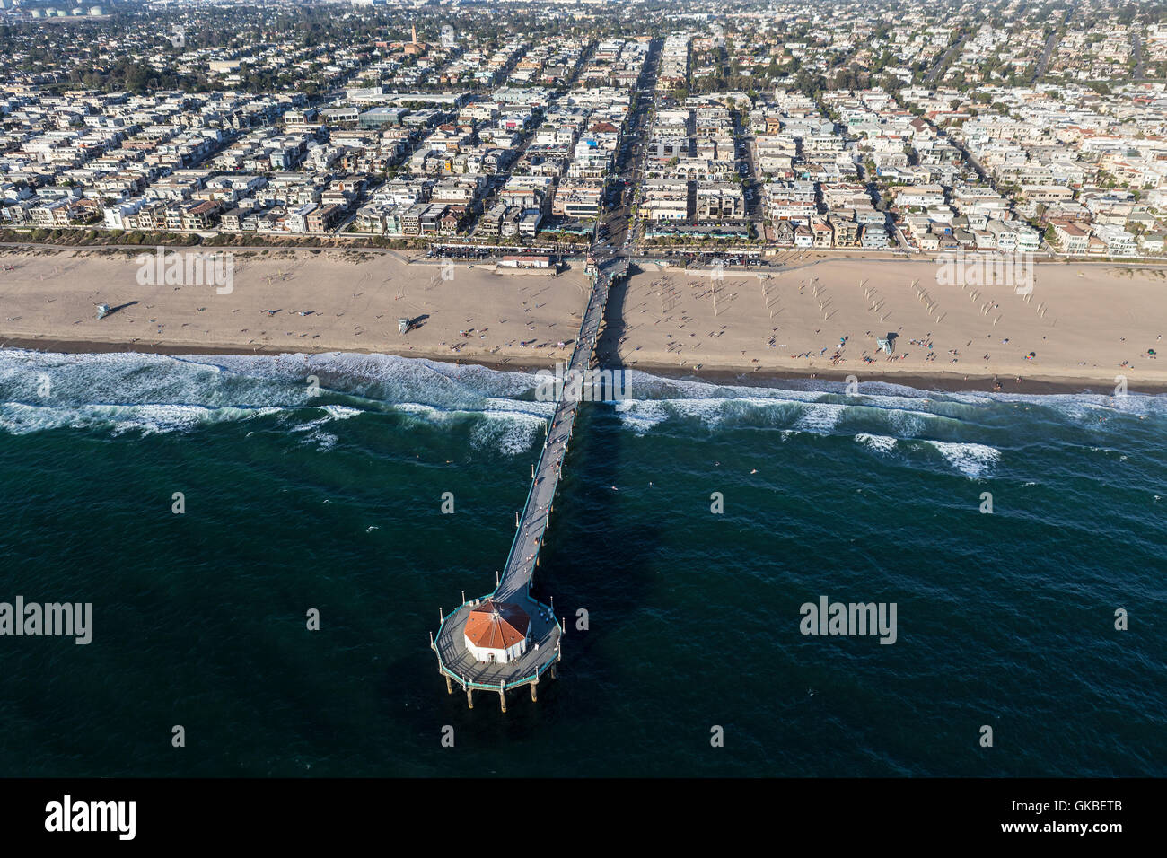 Afternoon aerial view of Manhattan Beach Pier near Los Angeles, California. - Stock Image