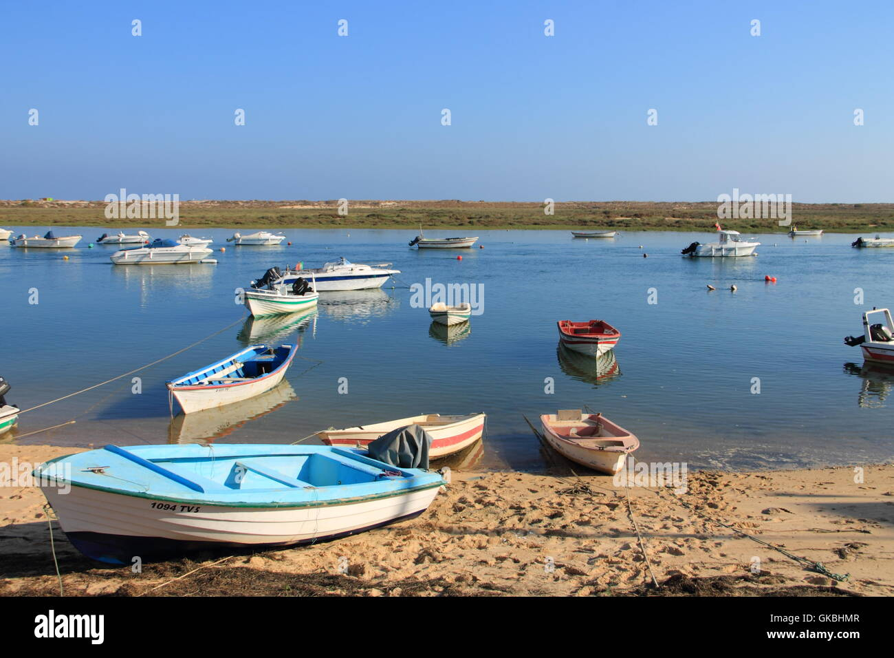 aground picturesque boats - Stock Image