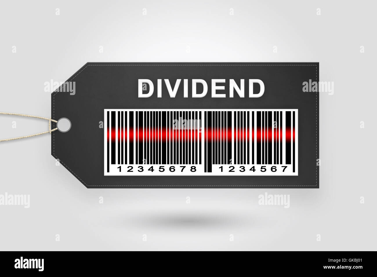 dividend price tag with barcode and grey radial gradient background - Stock Image