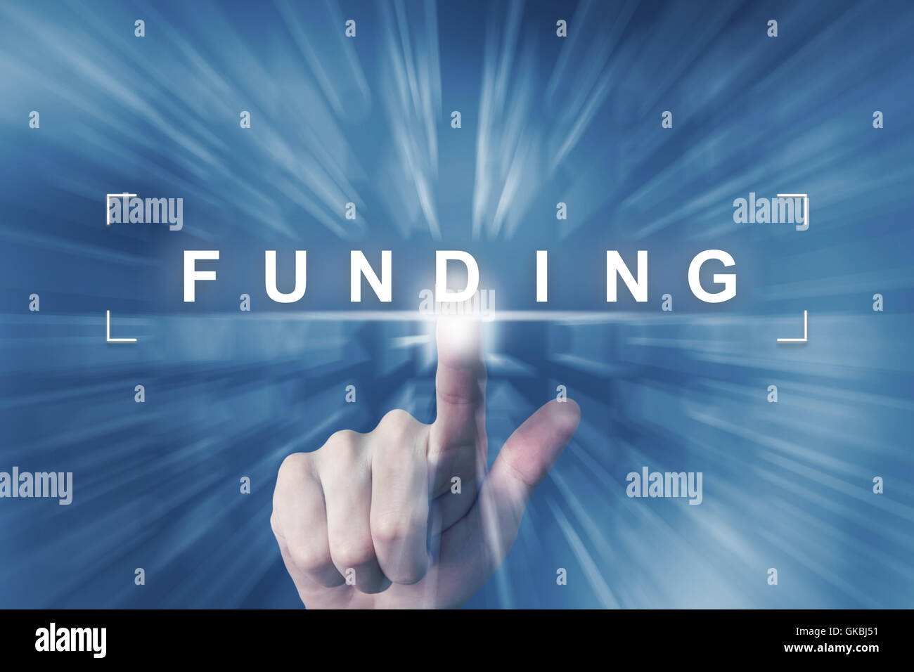 hand clicking on financial funding button with zoom effect background Stock Photo