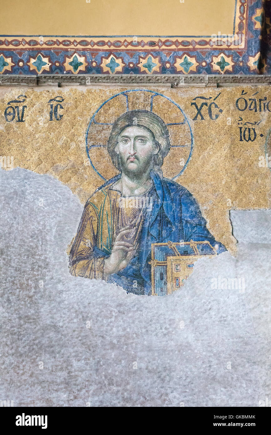 Detail of Christ on the 13th century Deesis mosaic in the upper south gallery, Haghia Sophia, Istanbul, Turkey Stock Photo