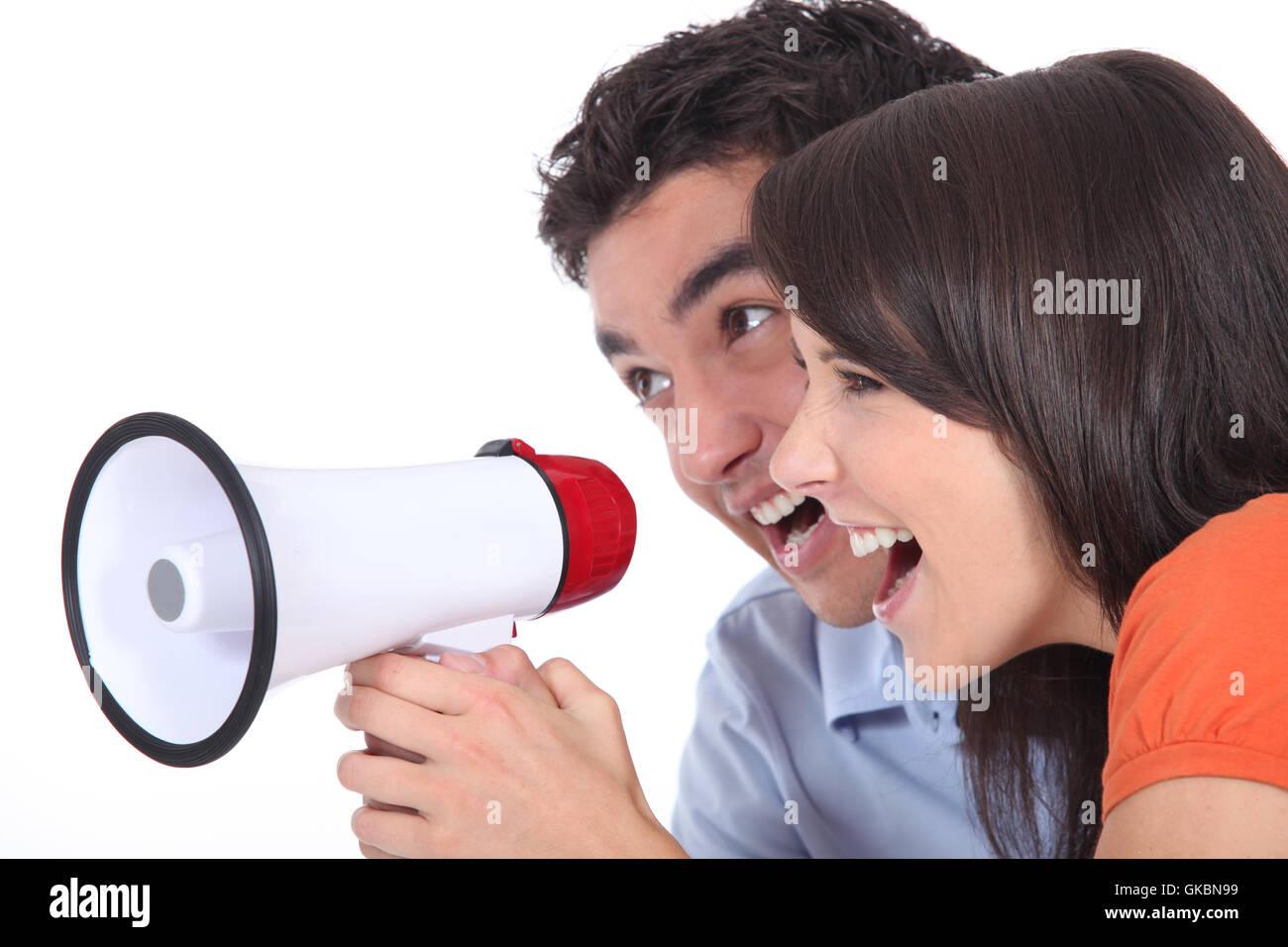 loudspeaker megaphone bellow - Stock Image