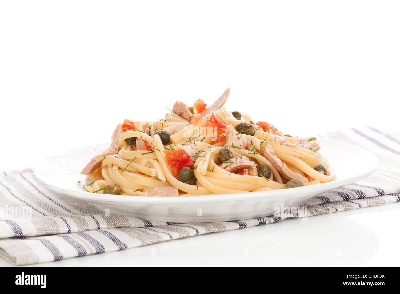 spaghetti mediterran pasta - Stock Image