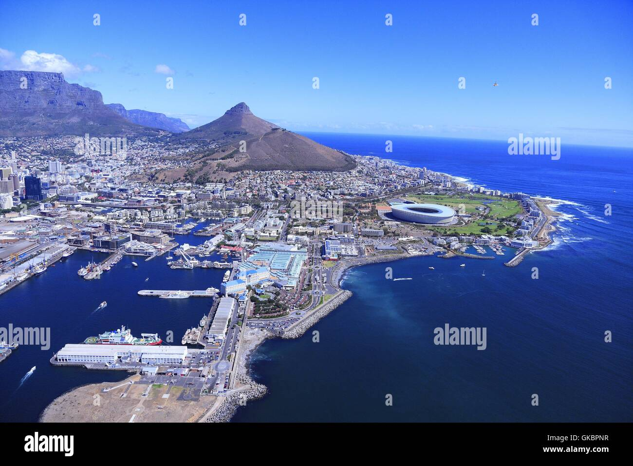 Aerial View Of Parts Of Capetown With The Harbour The Victoria And