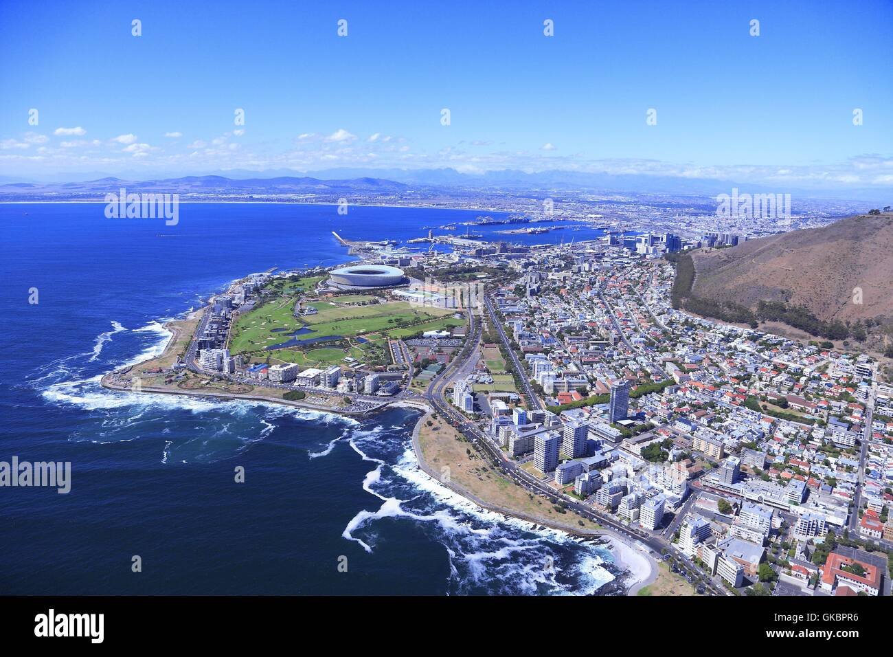 Aerial View Of Parts Of Capetown With The Green Point District L