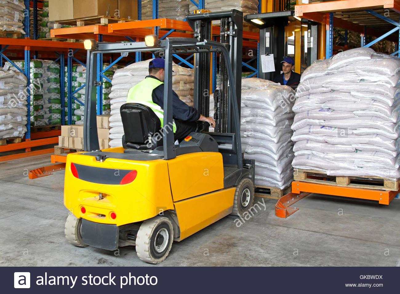 warehouse shelves distribution - Stock Image