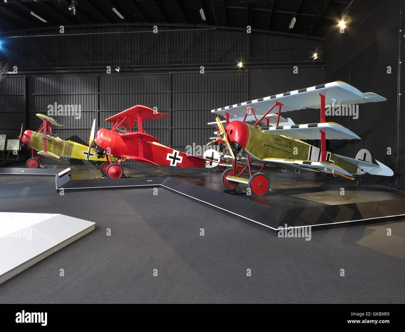 Omaka Aviation Heritage Centre at Blenheim, New Zealand. Showing a general view with the Red Barons triplane centre - Stock Image