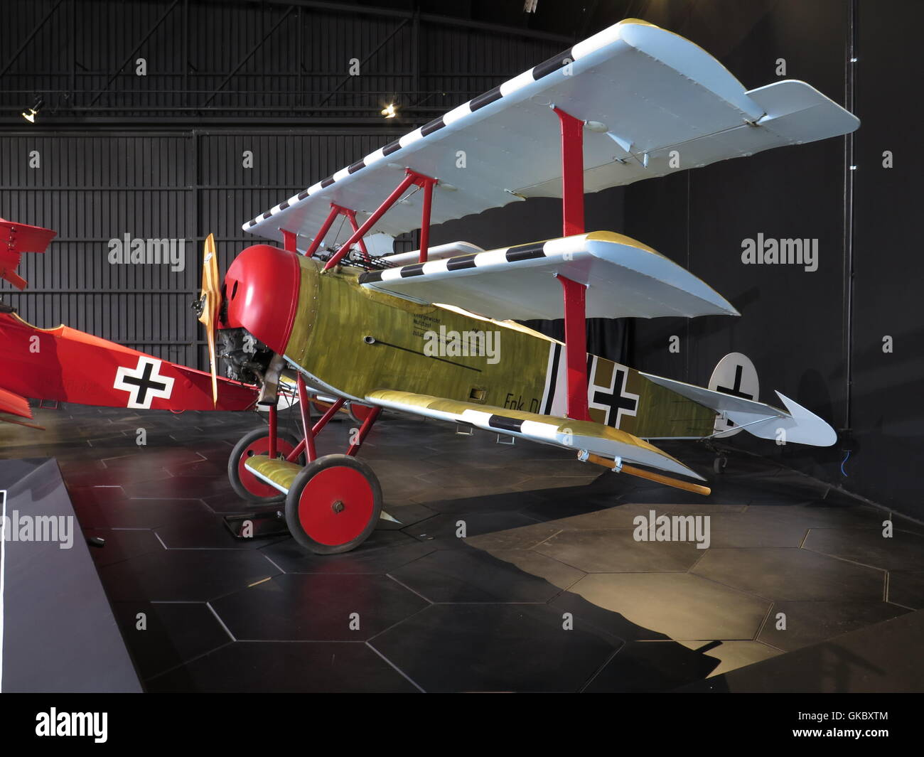 German Fokker planes from WW 1 at Omaka Aviation Heritage Centre at Blenheim, New Zealand - Stock Image