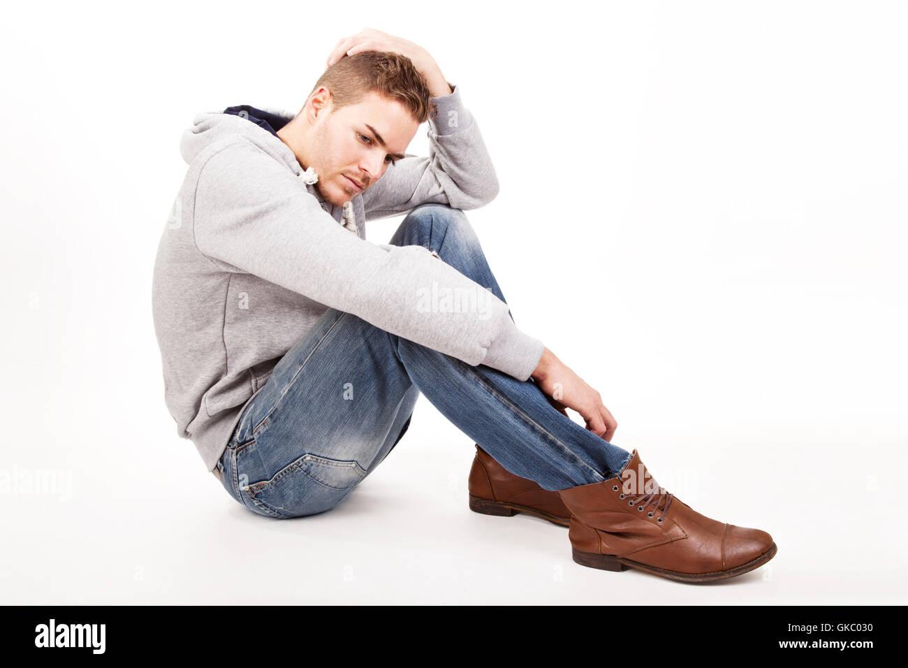depressive young man - Stock Image