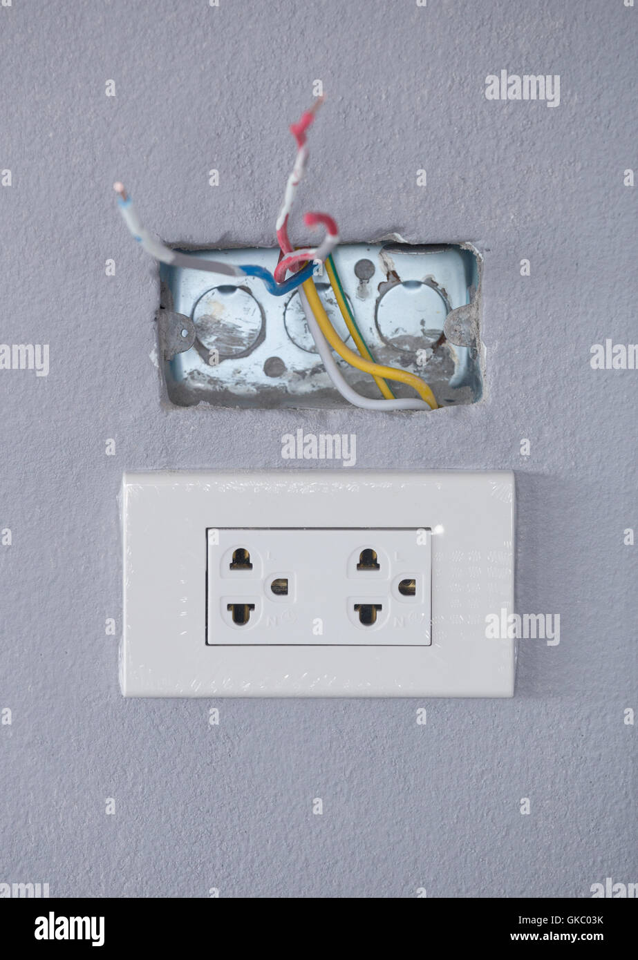 New Electric Wall Socket With Plate On Gray Background Home Wiring