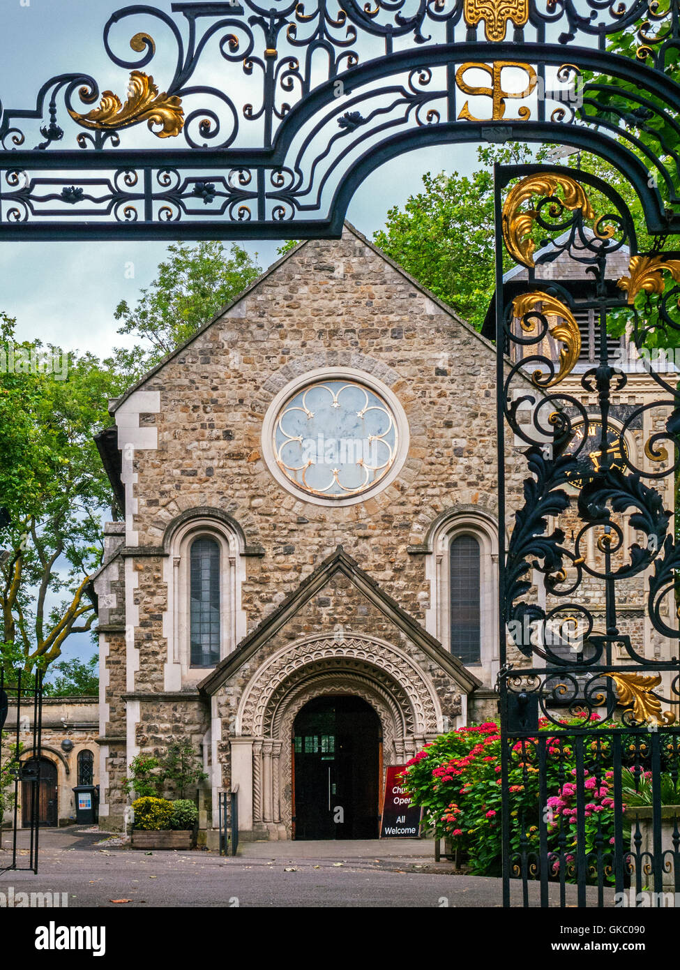 St Pancras Old Church, front and gate detail, London - Stock Image