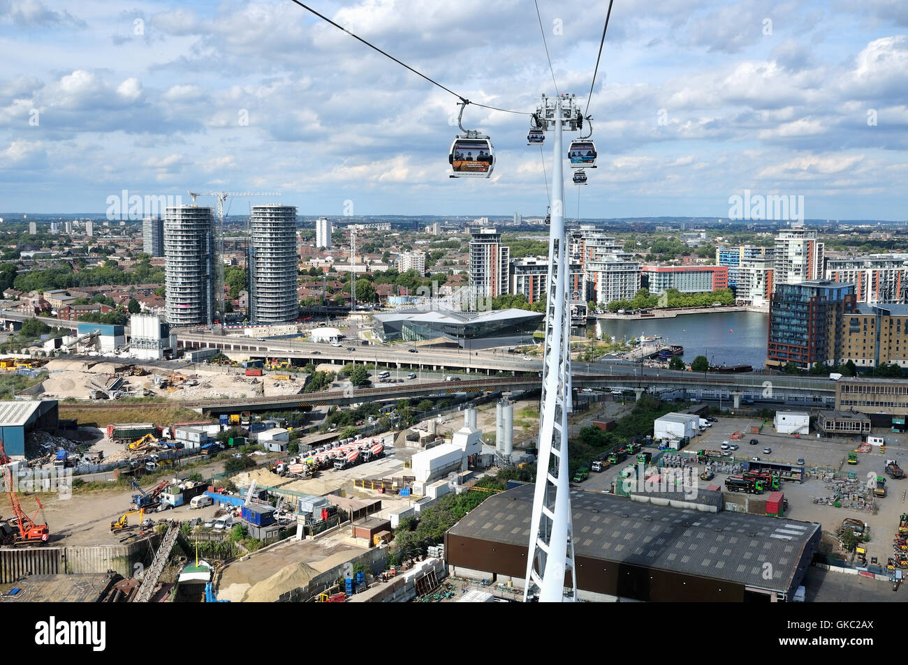 Aerial view of London Docklands UK, from the Emirates cable car crossing - Stock Image