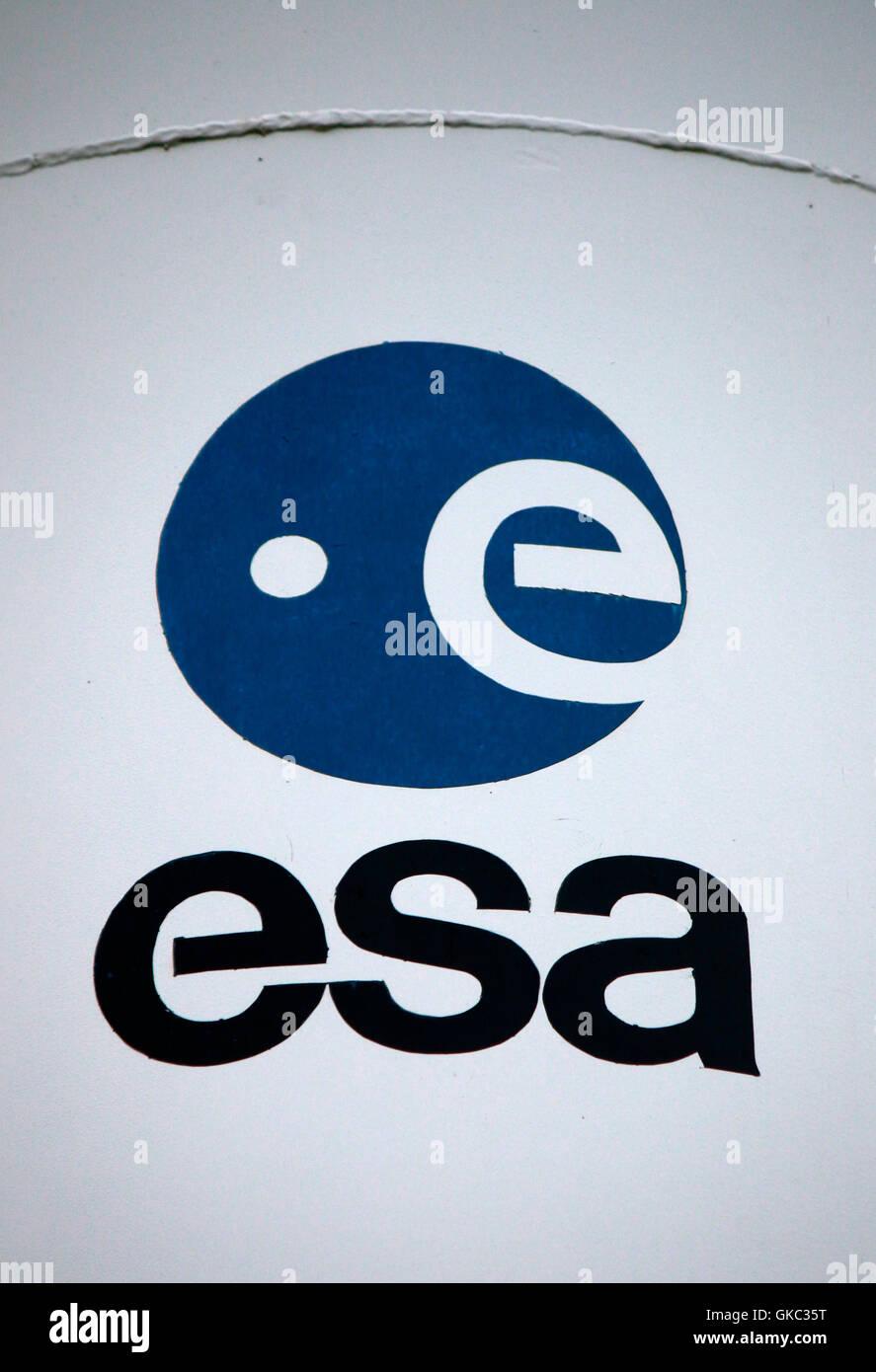 Logo der Marke 'ESA European Space Agency', Kiruna, Schweden. - Stock Image