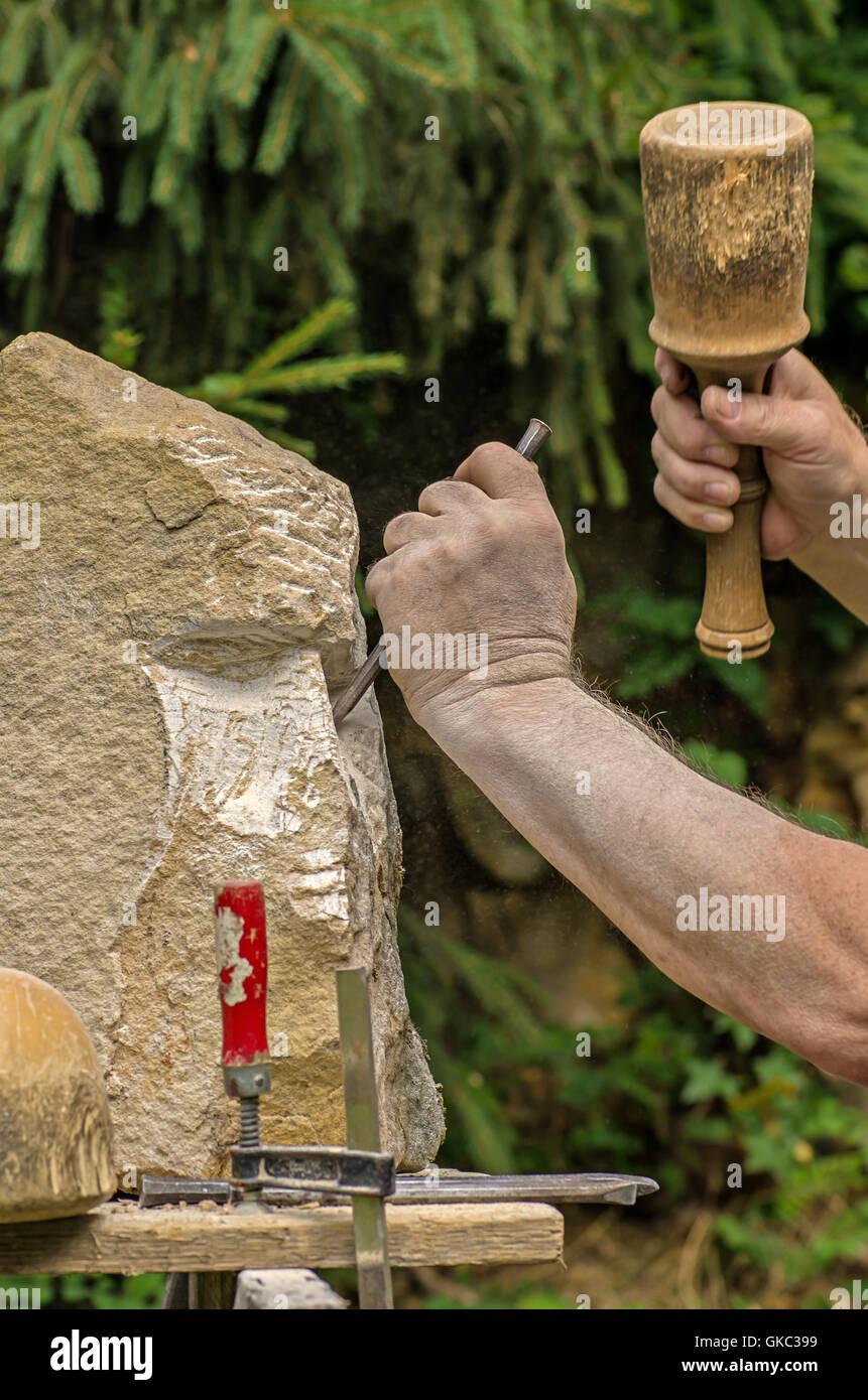 sculptor when editing a sculpture - Stock Image