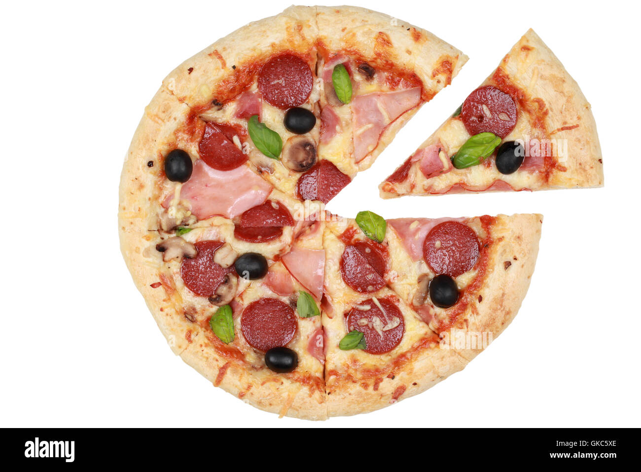 sliced pizza with salami,ham and mushrooms - Stock Image