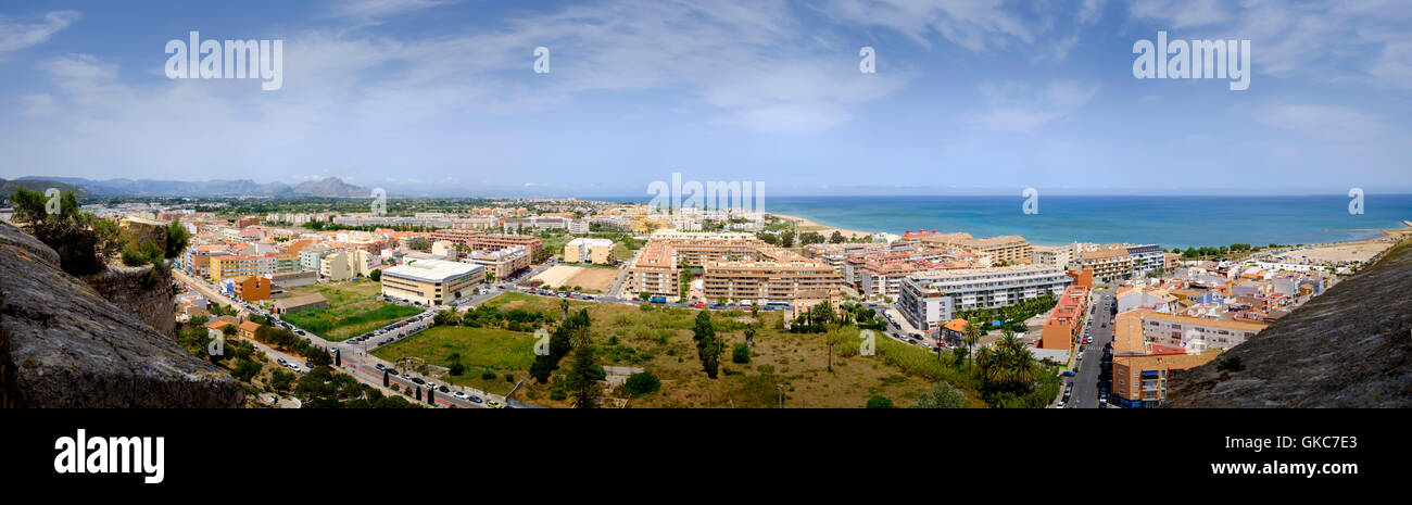 High viewpoint extreme panorama of Denia from the castle - Stock Image