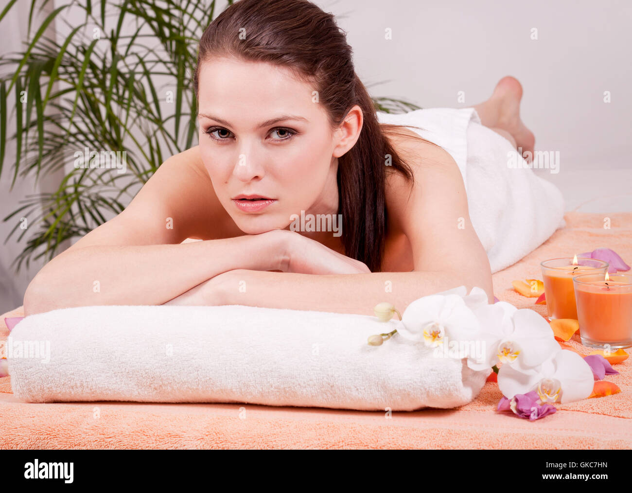 therapist massaging a young attractive woman wellness spa health relaxation - Stock Image