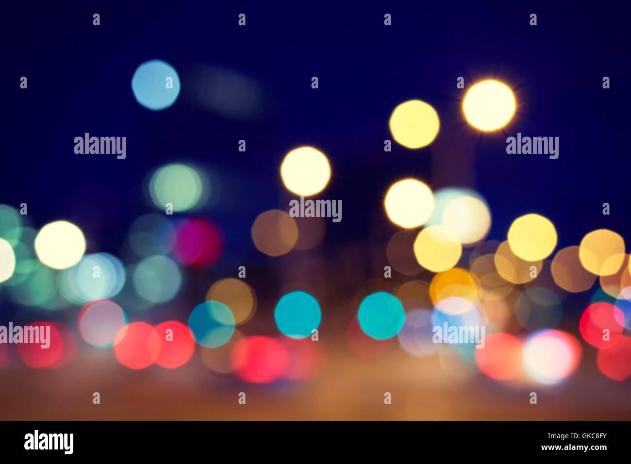 Vintage Toned Blurred Street Lights At Night Urban Abstract Background