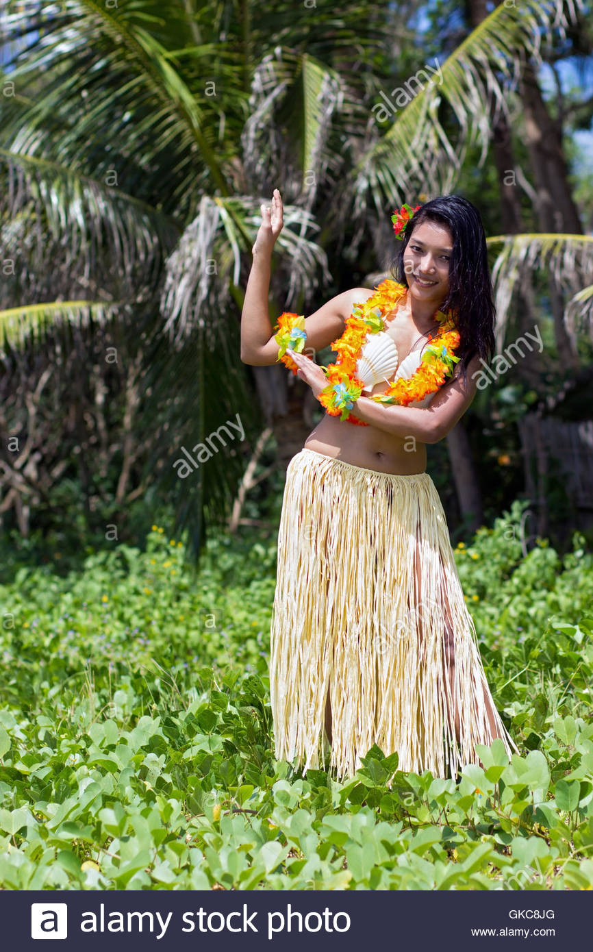 woman exotic palm - Stock Image