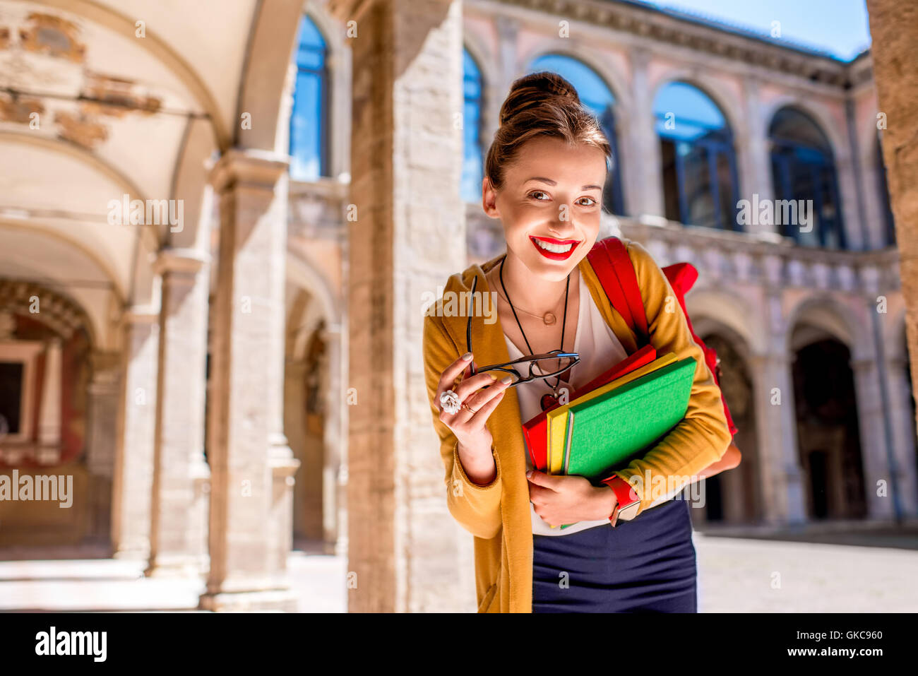 Student in the oldest university in Bologna city - Stock Image