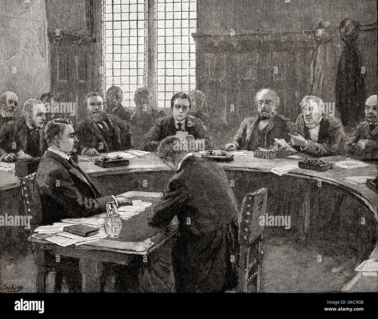Cecil Rhodes speaking at the South Africa Committee in 1897.  Cecil John Rhodes, 1853 – 1902.  British businessman, - Stock Image