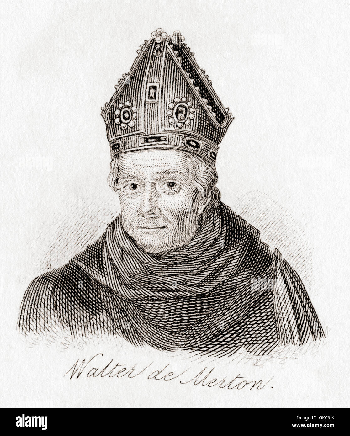 Walter de Merton, c. 1205 – 1277.  Bishop of Rochester and founder of Merton College, Oxford. - Stock Image