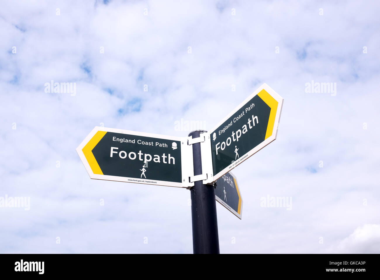 View across Dungeness Kent UK -- England Coast Path sign - Stock Image