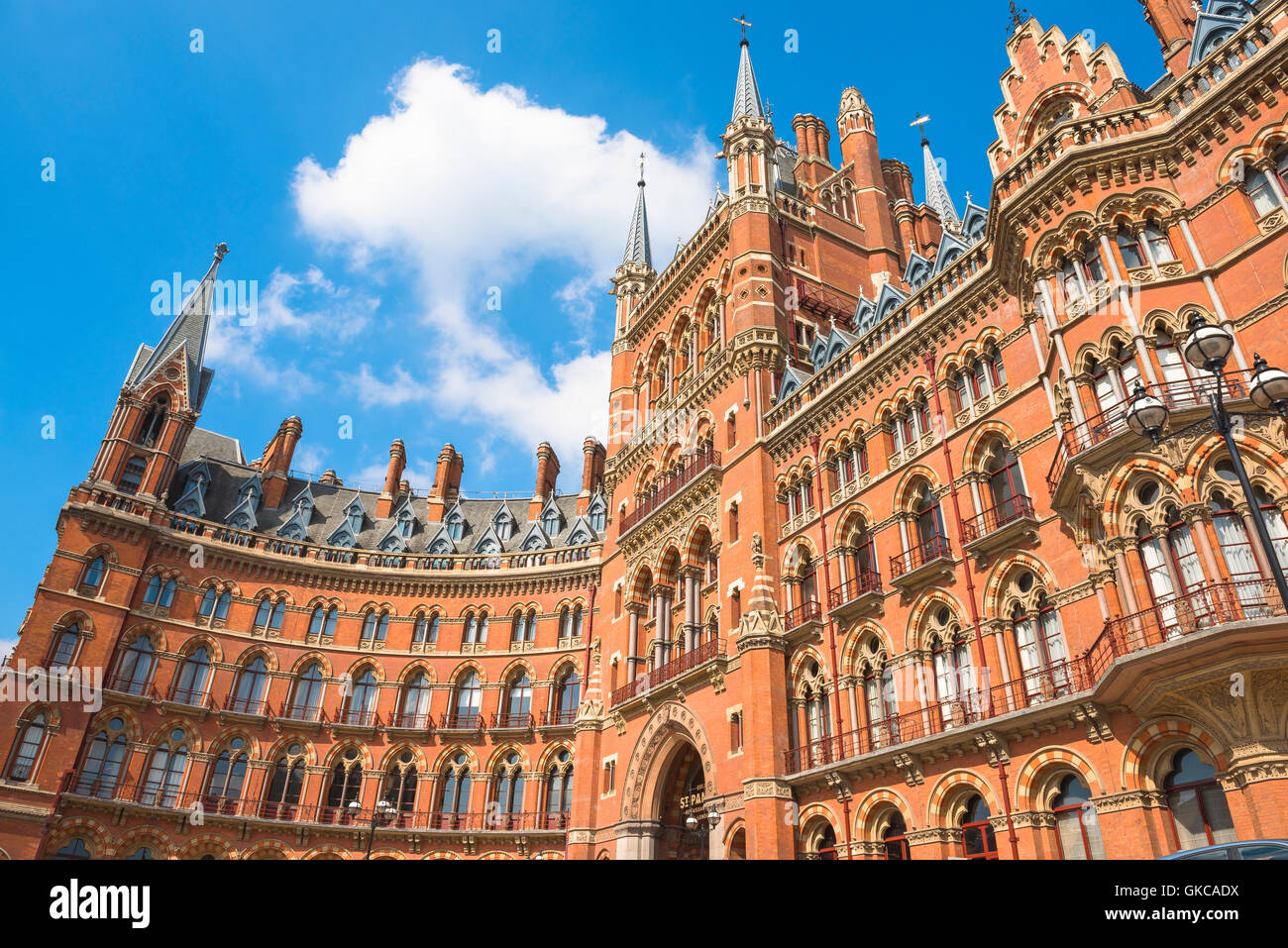 Victorian architecture, London, the Victorian Gothic Revival style St Pancras Hotel at King's Cross, London,UK. - Stock Image