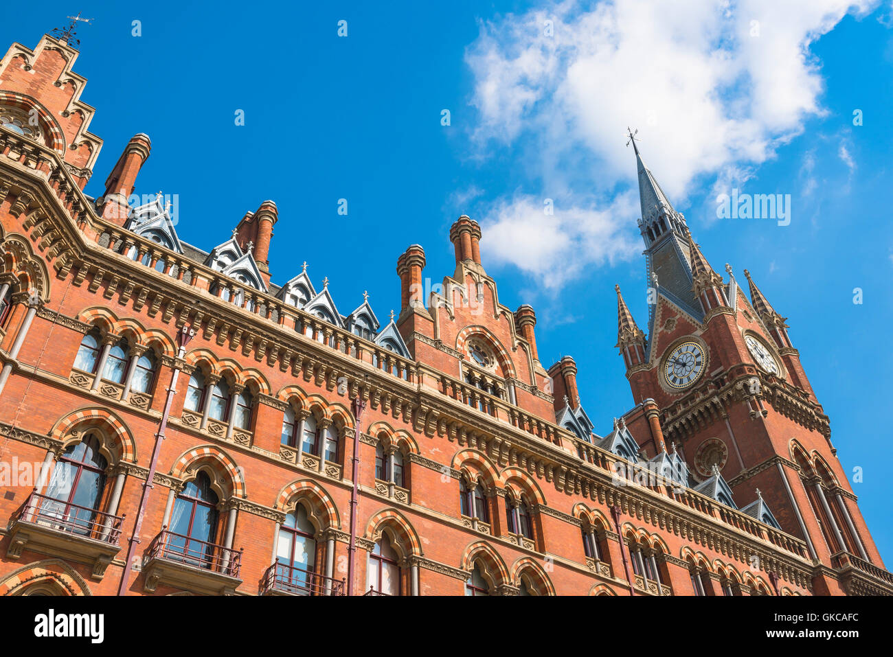 Victorian architecture, London, detail of the Victorian Gothic style St Pancras Hotel at King's Cross, London,UK. Stock Photo