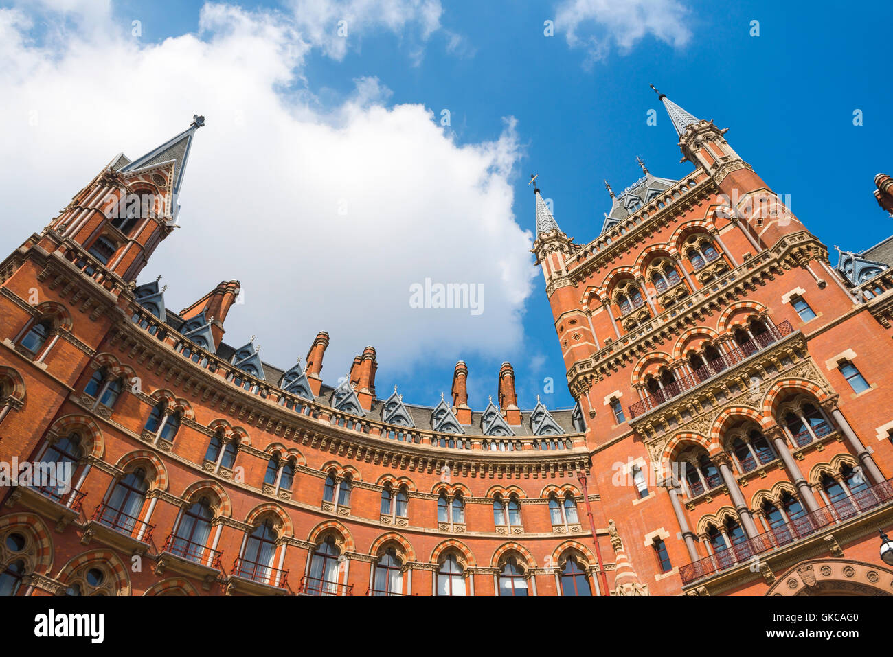 Victorian architecture, London, detail of the Victorian Gothic Revival style St Pancras Hotel at King's Cross, - Stock Image