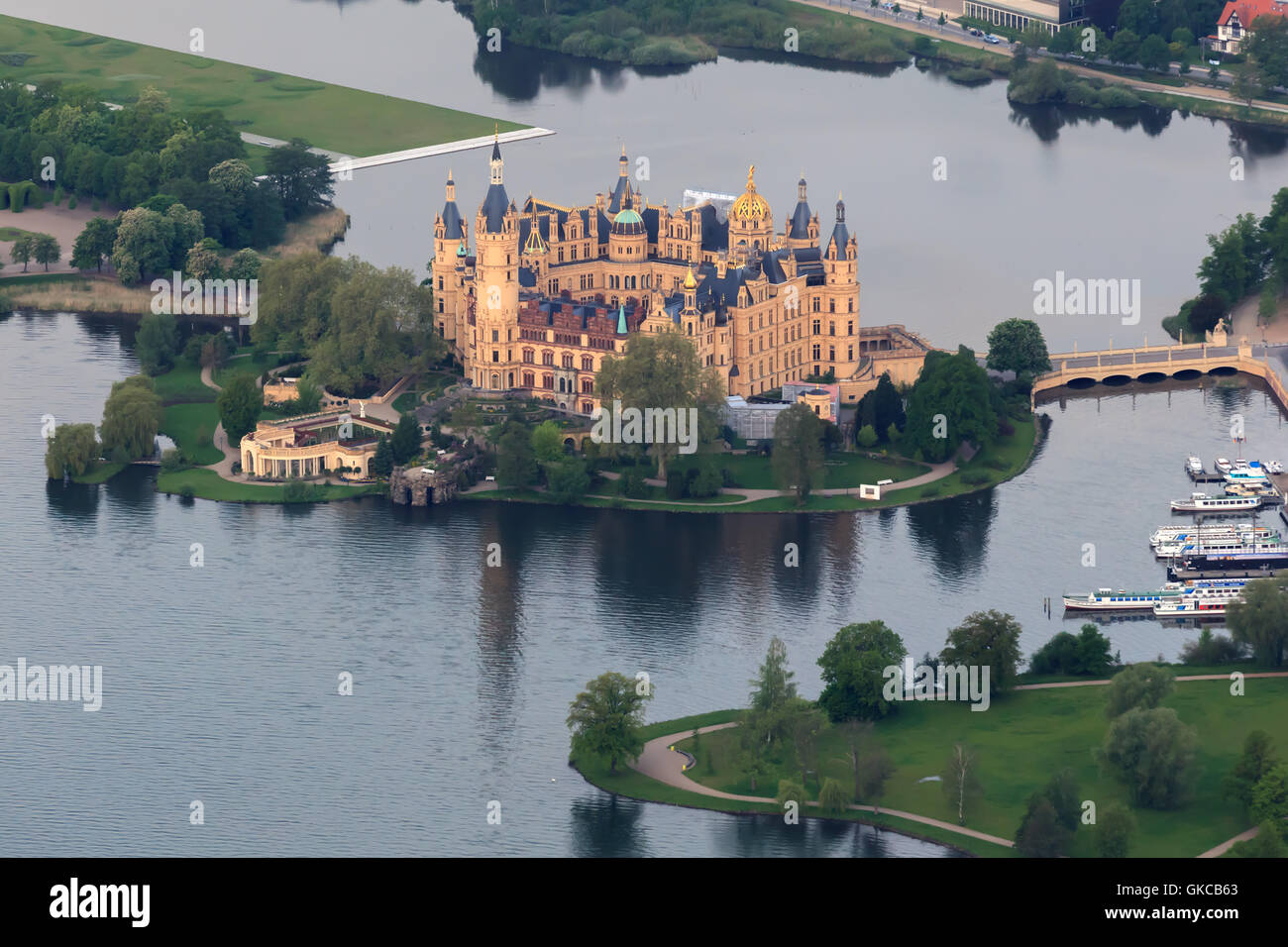 schwerin castle as aerial view from hot air balloon - Stock Image